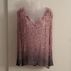 Lucky Brand Pink & Purple Sheer Crinkle Blouse